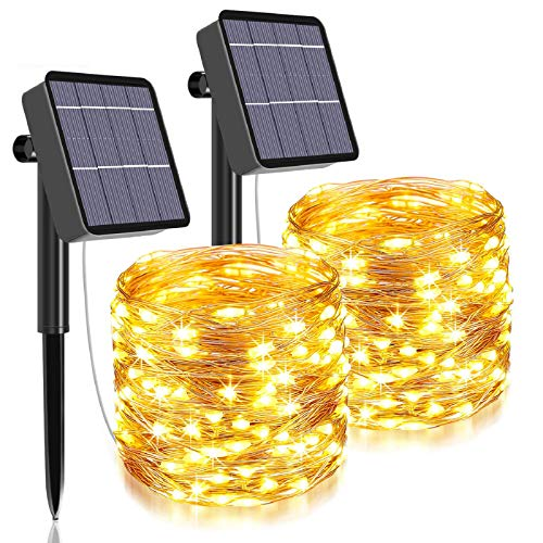 Solar String Lights Outdoor,480 LED Total&160 Ft Ultra Long Starbright Solar Light with 1200 Mah Battery Backup,8 Modes Solar Fairy Lights for Garden Patio Yard Party Decoration (2Pack- Warm White)