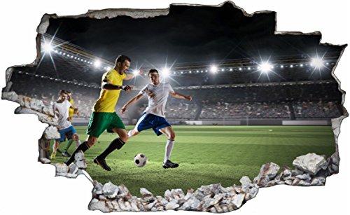 DesFoli Fussball Stadion Spielfeld 3D Look Wandtattoo 70 x 115 cm Wanddurchbruch Wandbild Sticker Aufkleber C629