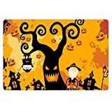 POLERO Novelty Halloween Doormat Screaming Tree and Pumpkin Haunted House Lovely Kids Floor Mats Durable Rubber Backing Non Slip Dirt Trapper Door Rug Well Pad for Gift Decoration Kids Room Pet Space