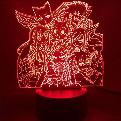 Luces Nocturnas 3D De Anime Fairy Tail Ilusión Visual Luces Led Cambiantes...