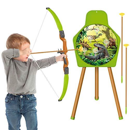 HERSITY Tiro con Arco Juego Arco y Flecha Juguete con 1 Arco 3 Flechas y 1 Objetivo Deporte al Aire Libre Regalo de para Niños