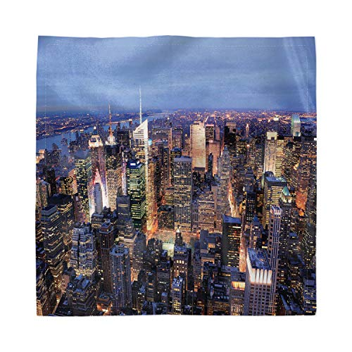 Ambesonne New York Decorative Napkins Set of 4, Aerial View of NYC Full of Skyscrapers Manhattan Times Square Famous Cityscape Panorama, Silky Satin Fabric for Brunch Dinner Buffet Party, 12, Blue