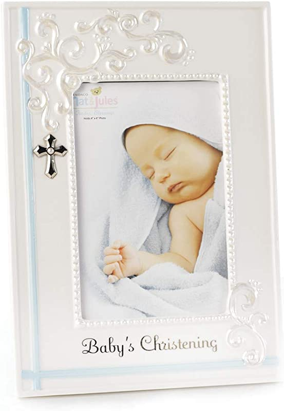 DEMDACO Blue Baby S Christening 9 75 X 9 5 Porcelain Picture Frame