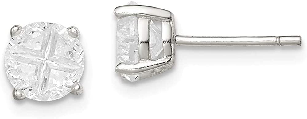 Solid 925 High material Sterling Silver Dedication 6mm Round Basket Set Zirconia Cubic CZ