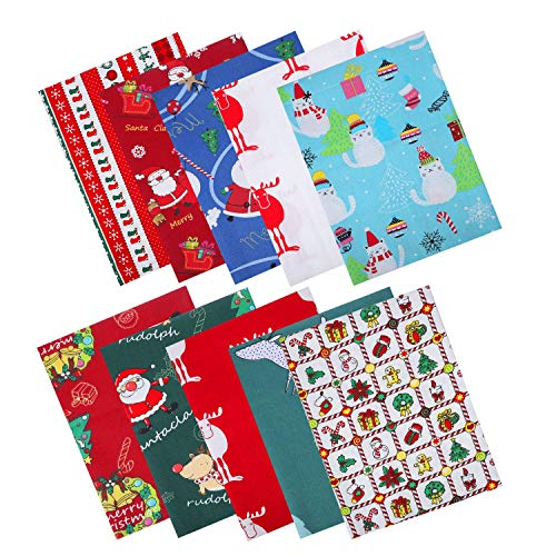 10 Pieces Christmas Fat Quarters Fabric 19.68'x19.68' Christmas Cotton Fabric Bundles, DIY Craft Cotton Quilting Fabric for Sewing Patchwork Gift Wrapper