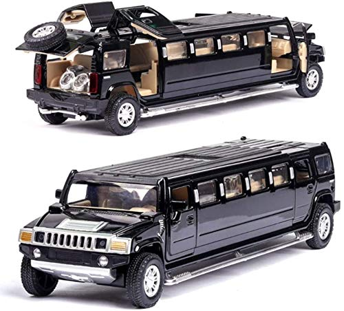 KJAEDL Modelo de Coches para niños Modelo de Auto de fundición de Troquel Hummer Modelo extendido Pull Back Coche 1:32 Aleación de Juguetes para niños con Puerta Abierta Sonido Real y luz