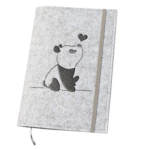 U-Hefthülle 'Panda' aus Filz, hellgrau/grau (Farbe/Motiv wählbar) | Bestickte Hülle 2in1 für Uheft & Impfpass mit Gummiband, farbigen Fächern & Lesezeichen