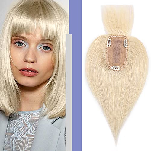 Elailite Flequillo Protesis Capilar Mujer Pelo Natural Clip Postizos Postiza Hair Topper Toupee Capilares Encaje Base 7cm*13cm Cabello Humano 45cm 53g #60 Rubio Platino