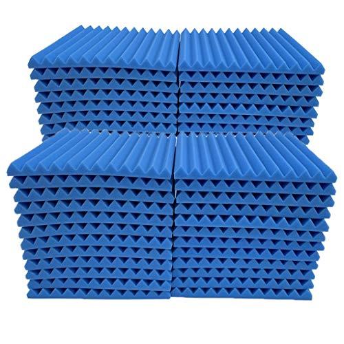 TIREOW 48Pcs Akustikschaumplatte Schalldämmung Schwamm Studio KTV Schalldicht Aufkleber Akustikschaum Tapete Wandbild Matte Schallschutz Schwamm 30x30x2.5cm (Blau)