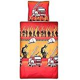 Aminata Kids Bettwäsche Feuerwehr 135x200 Junge Baumwolle für Kinder Junge Feuerwehr-Auto Amerika USA Feuerwehr-Mann-Motiv Feuerwehrbettwaesche - rot Reißverschluss Geschenk-Idee Kinderbettwäsche
