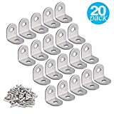 20 Pieces Stainless Stee L Bracket (0.78 x 0.78 inch,20 x 20 mm) Corner Braces Joint Right Angle Bracket Fastener L Shaped Corner Fastener Joints Support Bracket, 40 Pieces Screws Included