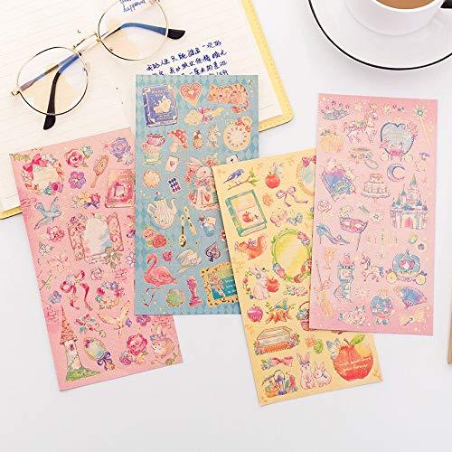 PMSMT Cuento de Hadas Princesa del Mundo Flores Decorativas Diario Pegatina decoración del Libro de Recuerdos Pegatinas de Bricolaje Material de Oficina Escolar