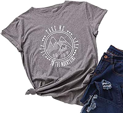 Neonr Summer Womens Take Me to The Mountains Personality Letter Print Tee Casual Short-Sleeve Girl T-Shirt Top(Dark-Gray), X-Large