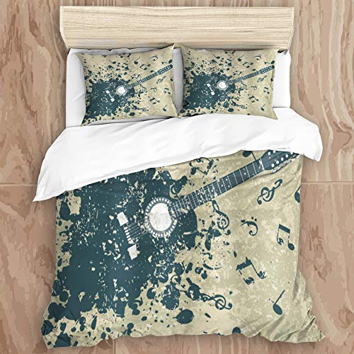 YCHY8 Duvet Cover Set,Acoustic Guitar and Music Notes on The Melody Diagram on a Retro dim Background,Decorative 3 Piece Bedding Set with 2 Pillow Shams, Queen Size