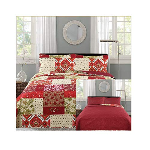 All American Collection New 3pc Printed Reversible Modern Floral Bedspread Coverlet Burgundy (King)