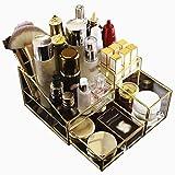 Verre Tiroir cosmétiques Boîte de rangement avec bordure dorée décorative Cabinet décoratif Maquillage Organisateur Countertop Countertop cosmétiques Boîte de rangement aijia
