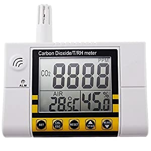 Carbon Dioxide/Temperature/Humidity Air Quality Monitor Meter,Wall Mountable CO2 Detector, RH Indoor Air Quality IAQ Sensor, 0~2000ppm Range