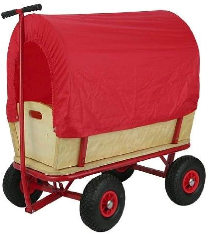 Transportwagen aus Holz mit Regenschutz