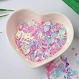 10 g / paquete de lentejuelas de lunares de corazón de estrella de varios colores para arte de uñas, lentejuelas sueltas de PVC de bricolaje con purpurina brillante, decoración de boda