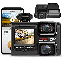 powerful Pruveeo D30H dash cam, infrared night vision and WiFi, two 1080P front and inside, dashboard …