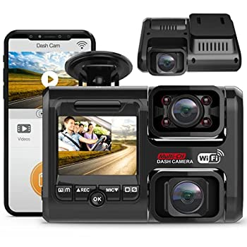 2021 Upgrade 4K 2160P Front & FHD 1080P+1080P Dual Dash Cam with WiFi Front and Inside for Cars Taxi 24H Parking Monitor Infrared Night Vision G-Sensor 2.0  LCD Loop Recording Car Camera