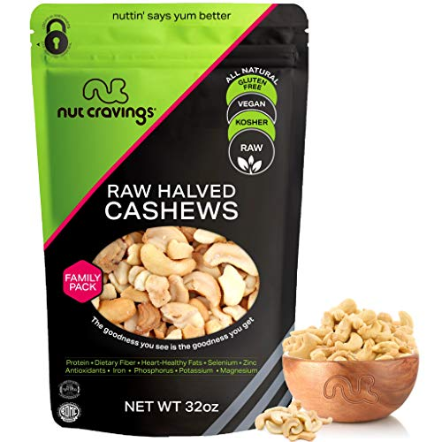 Raw Cashew Halves & Pieces - Unsalted, Superior to Organic (32oz - 2 Pound) Packed Fresh in Resealable Bag - Nut Trail Mix Snack - Healthy Protein Food, All Natural, Keto, Vegan, Kosher