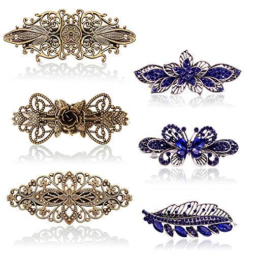 6 Stück Französische Vintage Haarspangen, Kalolary Kristall Strass Haarspangen, Haarspangen für Damen Retro Vintage Metall Französische Haarnadeln Rosen Bronze Zubehör