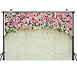LYWYGG 7x5ft Wedding Photo Backdrop White Wedding Party Background Flower Wall Wood Backdrop Photography Prop for Children Photo Studio CP-23