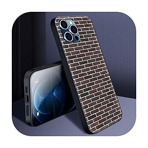 Funda del teléfono para el iPhone 11 12 Pro Max XS X XR Shell para iPhone 12 Mini 8 7 6 6S Plus SE 2020 cubierta color pared ladrillo moda B08-para iPhone 12