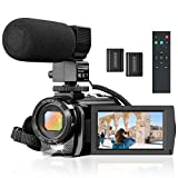Camcorder Video Camera for YouTube, Vlogging Camera Recorder Full HD 1080P 30FPS 24MP 16X Zoom 3' 270° Rotation Screen Digital Camera with Microphone, Fill Light, Remote Control, 2 Batteries