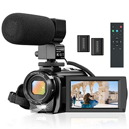 "Camcorder Video Camera for YouTube, Vlogging Camera Recorder Full HD 1080P 30FPS 24MP 16X Zoom 3"" 270° Rotation Screen Digital Camera with Microphone, Fill Light, Remote Control, 2 Batteries"