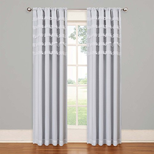 """Eclipse Ruffle Batiste Thermal Insulated Single Panel Rod Pocket Room Darkening Privacy Curtains for Nursery, 50"""" x 84"""", White"""