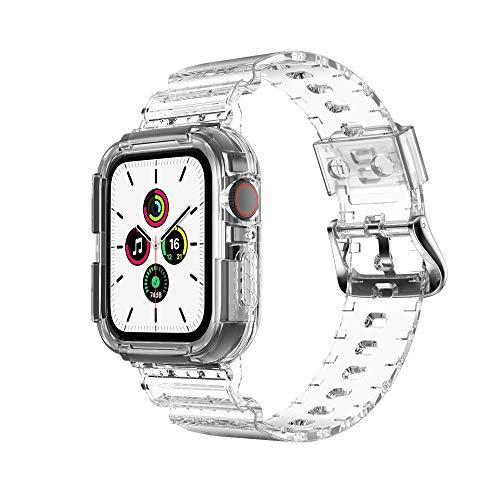 KINOEHOO Correas para relojes Compatible con Apple watch 3/4/5/6 (38/40/42/44) Pulseras de repuesto.Correas para relojesde siliCompatible cona.(44 transparente)