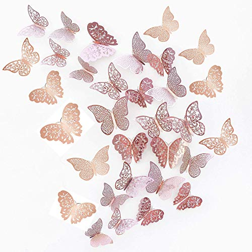 JUN-H 36 Pieces 3D Butterfly Decorations Butterfly Stickers DIY Wall Art Sticker Bedroom Baby Nursery Decor Decals Removable Decorative Paper Murals for Home Living Room (Rose Red)