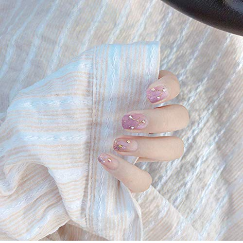 Valse Nagels, Nep Nagels, Natuurlijke Parel Elegante Touch Franse Manicure, 24 Stks Leuke Roze Kleur Druk Op Nagel Vrouwen Zoete Zwart Wit Print Korte grootte Ontwerp Valse Nagels,