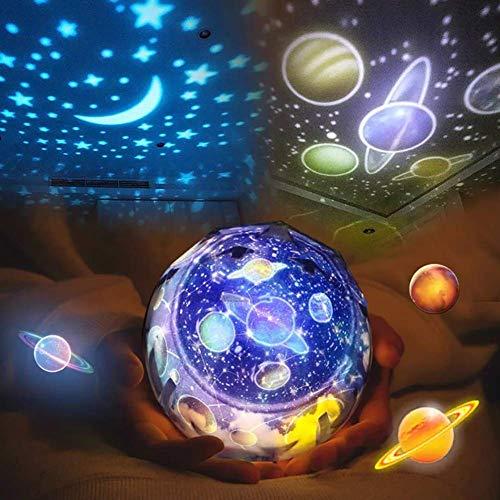 Z·Bling Giratorio Star Light Proyector, Bebé Luz de Noche Lámpara 5 Estilos de Pantalla cambiables, Luz Decorativa de Humor para Kids Child Bedroom Living Room Party