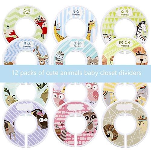 Afufu Separadores de Talla de Estante de Ropa, 12 Divisores de Vestuario para Bebés, Cosas para Bebe Organizador de Clóset Redondo Perfecto para Regalo de Baby Shower (Tema de Animales)