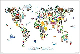 Animal Kingdom Map of The World - Art Poster/Print (Where Do Which Animals Live) (Size: 36 inches x 24 inches)