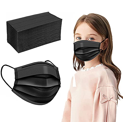 Kids Disposable Face Mask,100 PCS Black Mask Ages 4-12 Children Sized Breathable Mouth Cover Safety Small Masks