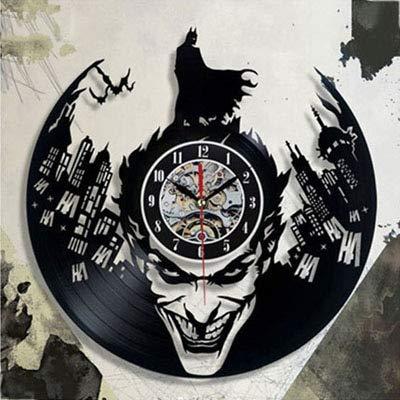 FDGFDG Filmcharakter Held Retro Vinyl Rekord Wanduhr modernes Design Dekoration Junge Zimmer wildes Design Fledermaus Uhr Wanduhr Hauptdekoration
