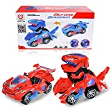 davidamy's gift Transforming Toy Dinosaur Cars, Dinosaur Car w/LED Light Sound, Aumatic Transformation Dinosaur Kids Toy (Red)