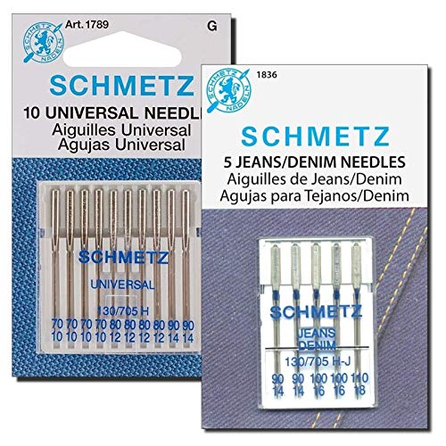 Denim and Universal Sewing Machine Needles Combo Pack, (Size: Assorted) Fits Baby Lock, Bernina, Brother, Janome, Juki, Kenmore, Necchi, Pfaff, Singer, Viking and White Home Machines by Apartment ABC