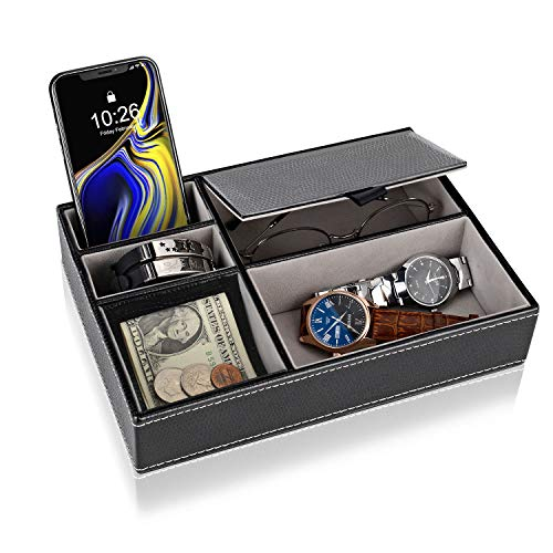 Baoyun Mens Valet Tray Organizer: Leather Valet Box EDC Catch All Tray with 5 Compartments for Wallet Key Phone Dresser Top Nightstand Organizer