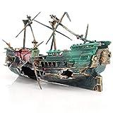 JVSISM Gran Acuario Decoración Barco Plástico Acuario Nave Aire Split Naufragio Pecera Decoración C