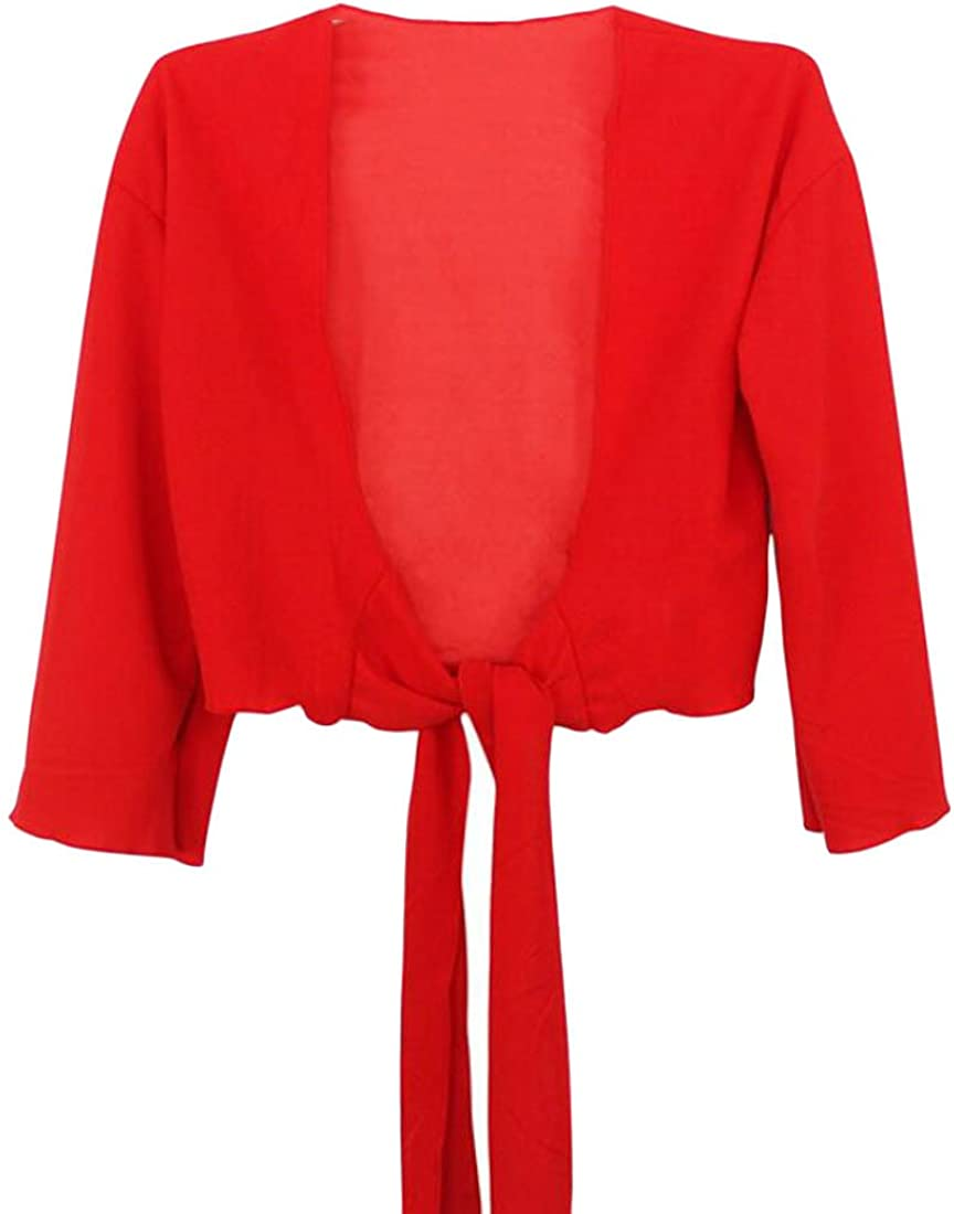 XTX Women's Sheer Shrug Open Front 3/4 Sleeve Bolero Solid Color Cardigan Red L