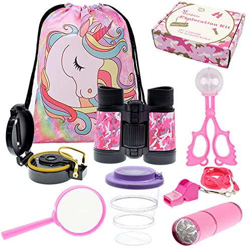 ShaqMars Kids Outdoor Adventure set Unicorn Gifts for Girls,Unicorn Backpack Binoculars Flashlight Compass Magnifying Glass Whistle Gift Box & More Kids Outdoor Toys, Pretend Play. Great Kidz Gift Set