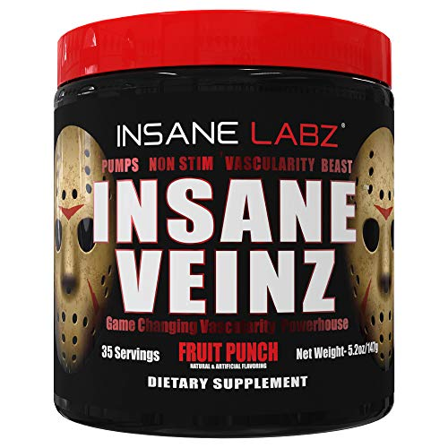 Insane Labz Insane Veinz Non Stimulant NO Enhancing Powder, Nitric Oxide Booster, Loaded with Agmatine Sulfate and Betaine Anhydrous, Increase Vascularity, 35 Srvgs, Fruit Punch