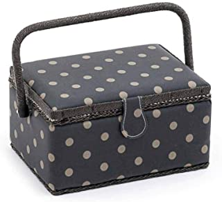 Hobbygift Colección de Valor: Caja de Costura (M): Rectangular: Mate PVC: carbón, de Lunares, Mezcla de algodón, 18,5x 26x 15cm