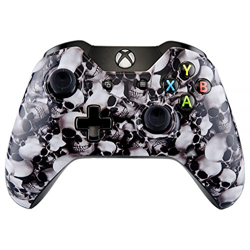 eXtremeRate Hydro Dipped Front Housing Shell Faceplate Cover Replacement Parts for Standard Xbox One Controller (Fits Both with 3.5mm Jack and without 3.5 mm Jack) (White Skulls)
