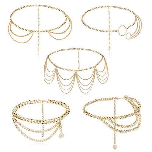 ORAZIO Gold Tone Chain Belts for Women Waist Chains Summer Beach Hip Belly Body Chains Jewelry